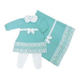Saída de maternidade com body, vestido, calça e manta - Azul tiffany e branco