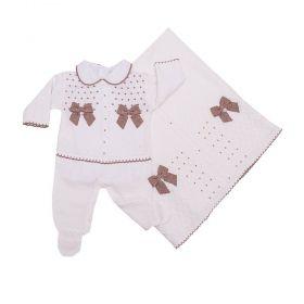 Saída de maternidade feminina com cristais swarovski - Branco e rolex