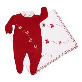 Saída de maternidade com macacão, body e manta - Branco e vermelho