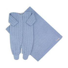 Saída de maternidade em tricot masculina - Azul bebê