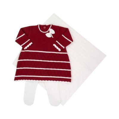 Saída de maternidade femina laço com pérolas - Vermelho e branco