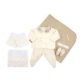 Saída de maternidade feminina 10 peças - Marfim