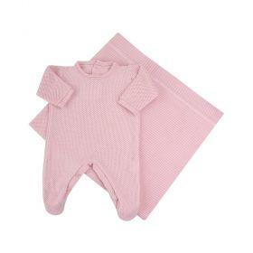 Saída de maternidade feminina 2 peças - Rosa bebê