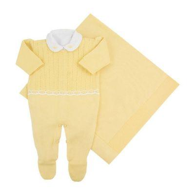 Saída de maternidade feminina macacão, body e manta - Amarelo