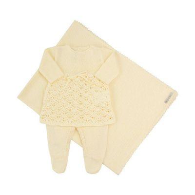 Saída de maternidade feminina jardineira, vestido e manta - Amarelo bebê