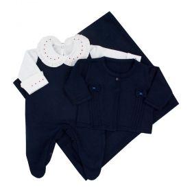 Saída de maternidade feminina 3 peças - Azul marinho