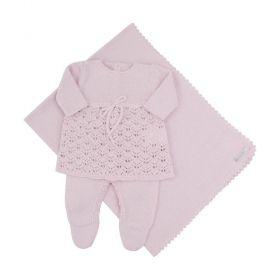 Saída de maternidade feminina 3 peças - Rosa pó