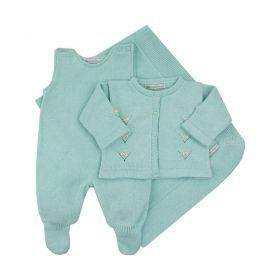 Saída de maternidade feminina jardineira, casaco e manta - Verde água