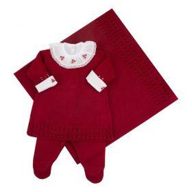 Saída de maternidade feminina 4 peças - Vermelho