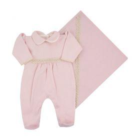 Saída de maternidade feminina bordada 2 peças - Rosa pó