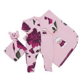 Saída de maternidade feminina bordada 3 peças - Rosa bebê e marsala