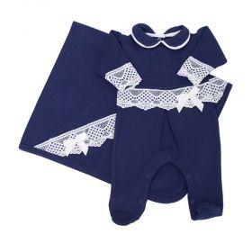 Saída de maternidade feminina bordada - Azul marinho