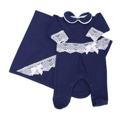Saída de maternidade feminina macacão e manta - Azul marinho
