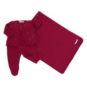 Saída de maternidade feminina bordada com pérolas 3 peças - Vermelho