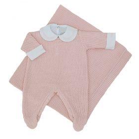 Saída de maternidade feminina com body 3 peças - Rosa bebê