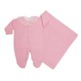 Saída de maternidade feminina com body bordado de pérolas 3 peças - Rosa bebê