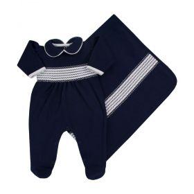 Saída de maternidade feminina com bordado - Azul marinho