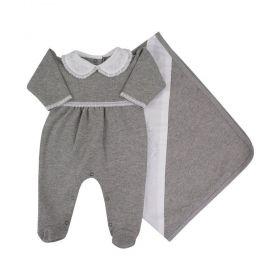 Saída de maternidade feminina com bordado - Cinza