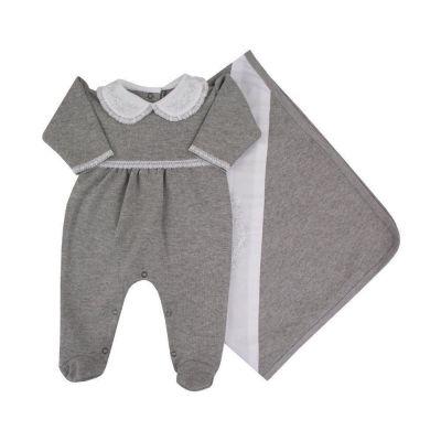 Saída de maternidade feminina macacão e manta com bordado - Cinza