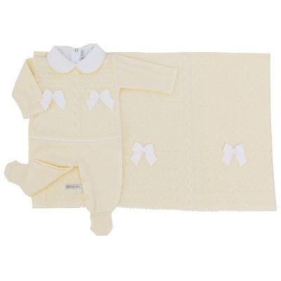 Saída de maternidade feminina com cristais swarovski 3 peças  - Amarelo bebê