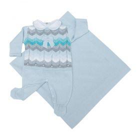 Saída de maternidade feminina macacão, body e manta - Azul pó