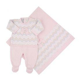 Saída de maternidade feminina com cristais swarovski 3 peças - branca e rosa pó