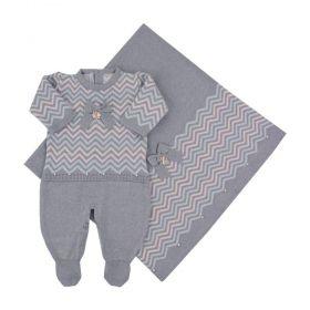 Saída de maternidade feminina com cristais swarovski 3 peças - Cinza e rosa bebê