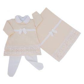 Saída de maternidade feminina com cristais swarovski 4 peças - Amarelo bebê e branco
