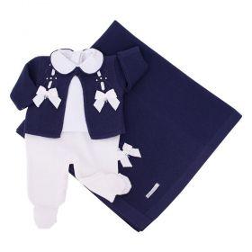 Saída de maternidade feminina jardineira, body, casaco e manta - Azul marinho e branco