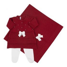 Saída de maternidade feminina com cristais swarovski - Vermelho e branco