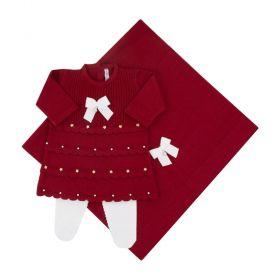 Saída de maternidade feminina com cristais swarovski - Vermelho
