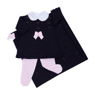 Saída de maternidade feminina vestido, body e manta - Preto