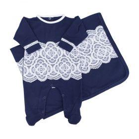 Saída de maternidade feminina com renda - Azul marinho