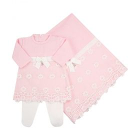 Saída de maternidade feminina com renda e cristais swarovski - Rosa bebê