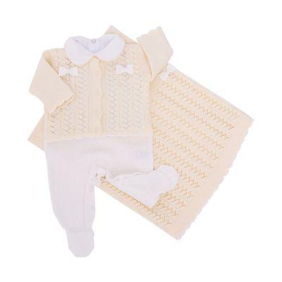 Saída de maternidade feminina com swarovski 4 peças - Amarelo bebê