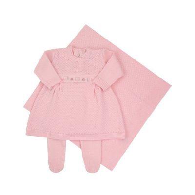 Saída de maternidade feminina com vestido, calça e manta - Rosa bebê