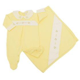 Saída de maternidade feminina flores 2 peças - Amarelo bebê