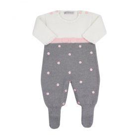 Saída de maternidade feminina lacinho - Branco, cinza e rosa