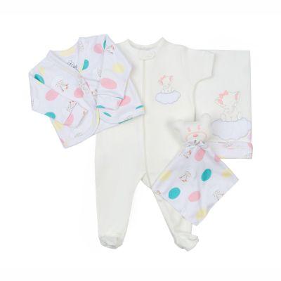 Saída de maternidade feminina macacão, casaco e manta - Branco e rosa