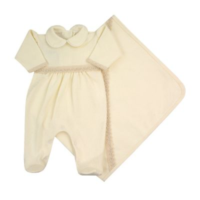Saída de maternidade feminina macacão e manta com pérolas - Marfim