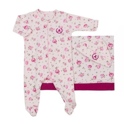 Saída de maternidade feminina macacão, manta e gorro floral - Rosa bebê