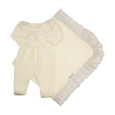 Saída de maternidade feminina macacão e manta - Marfim