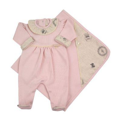 Saída de maternidade feminina macacão e manta - Rosa bebê