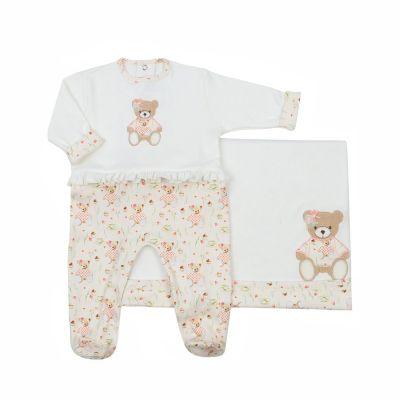 Saída de maternidade feminina macacão e manta ursinha - Off white