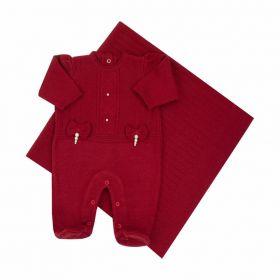 Saída de maternidade feminina macacão e manta - Vermelho
