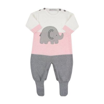 Macacão bebê elefante - Branco, cinza e rosa