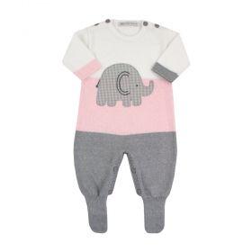 Saída de maternidade feminina macacão elefante - Branco e rosa