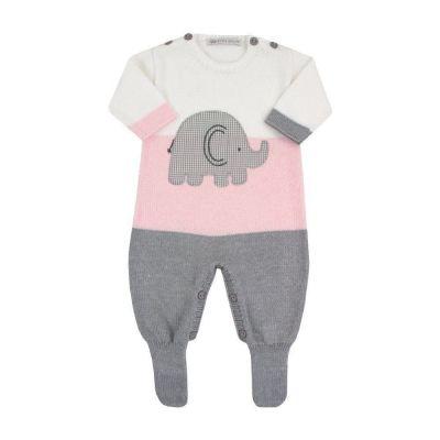 Macacão bebê elefante - Branco e rosa