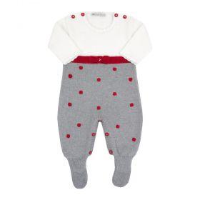 Saída de maternidade feminina macacão lacinho - Branco, cinza e vermelho