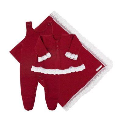 Saída de maternidade feminina casaco, jardineira e manta - Vermelho cereja
